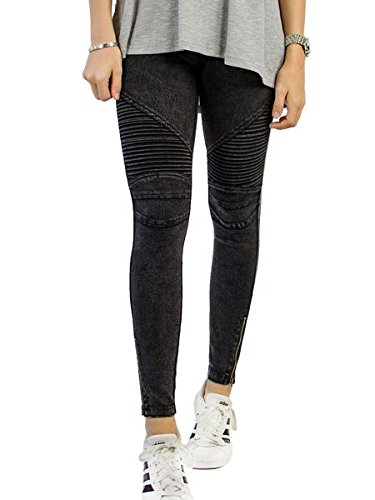 Tickled Teal Women's Moto Jegging (X-Large, Black) (Quilted Womens Jeans)
