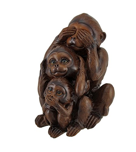 Zeckos No Evil Monkeys Faux Wood Carving Statue