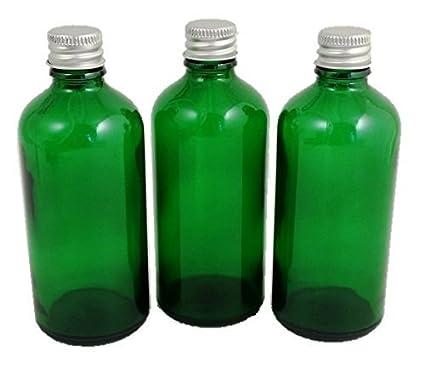 Paquete de 3x Vidrio Verde Botellas 100ml con Plata Aluminio tapón rosca (EPE FORRADO)