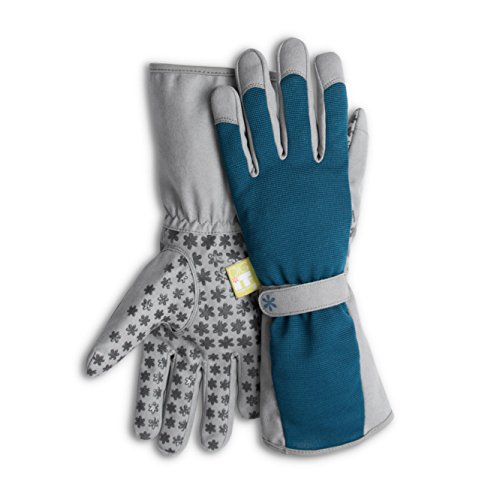 High 5 Long Cuff Gardening Gloves by Dig It with Fingertip Pillow-top Protection for all types of Gardening Chores and other DIY Activities (Blue/Grey, Small/Medium)