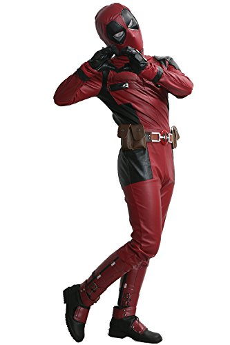 [Dead Cosplay Pool Wade Costume Jumpsuit PU Outfit with Helmet Belt Adult Custom Made] (Custom Cosplay Costumes Sale)