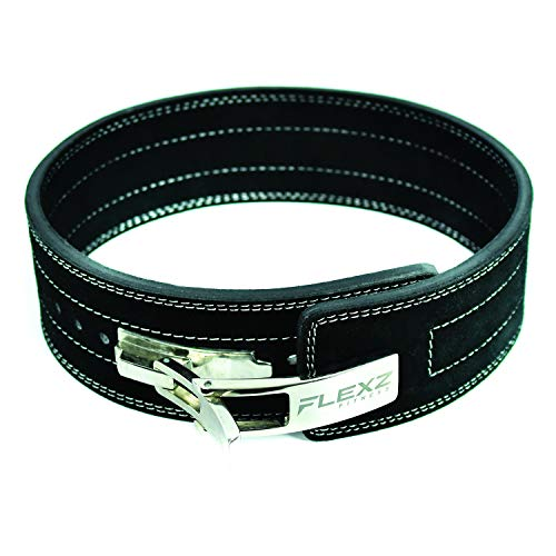 Flexz Fitness Lever Buckle Powerlifting Belt 10mm Weight Lifting Black Large (Lever Belts)