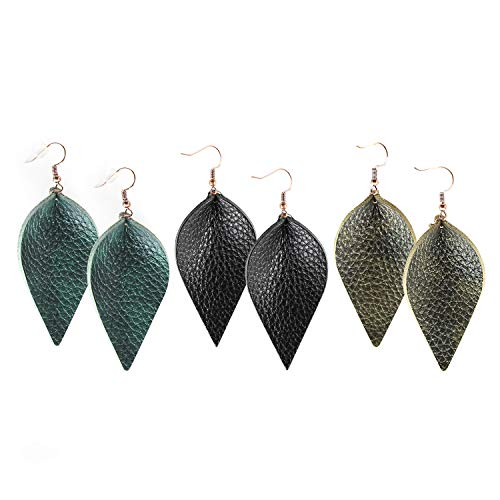 Me&Hz Genuine Leather Dangle Earrings Statement Long Drop Leaf Earrings for Women Girls Dark Green Army Green and Black, 3 Pairs ()