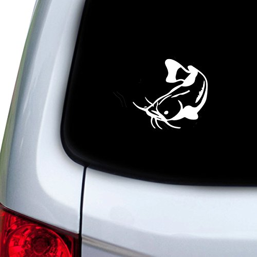 Catfish Decal - StickAny Car and Auto Decal Series Catfish Style 1 Sticker for Windows, Doors, Hoods (White)
