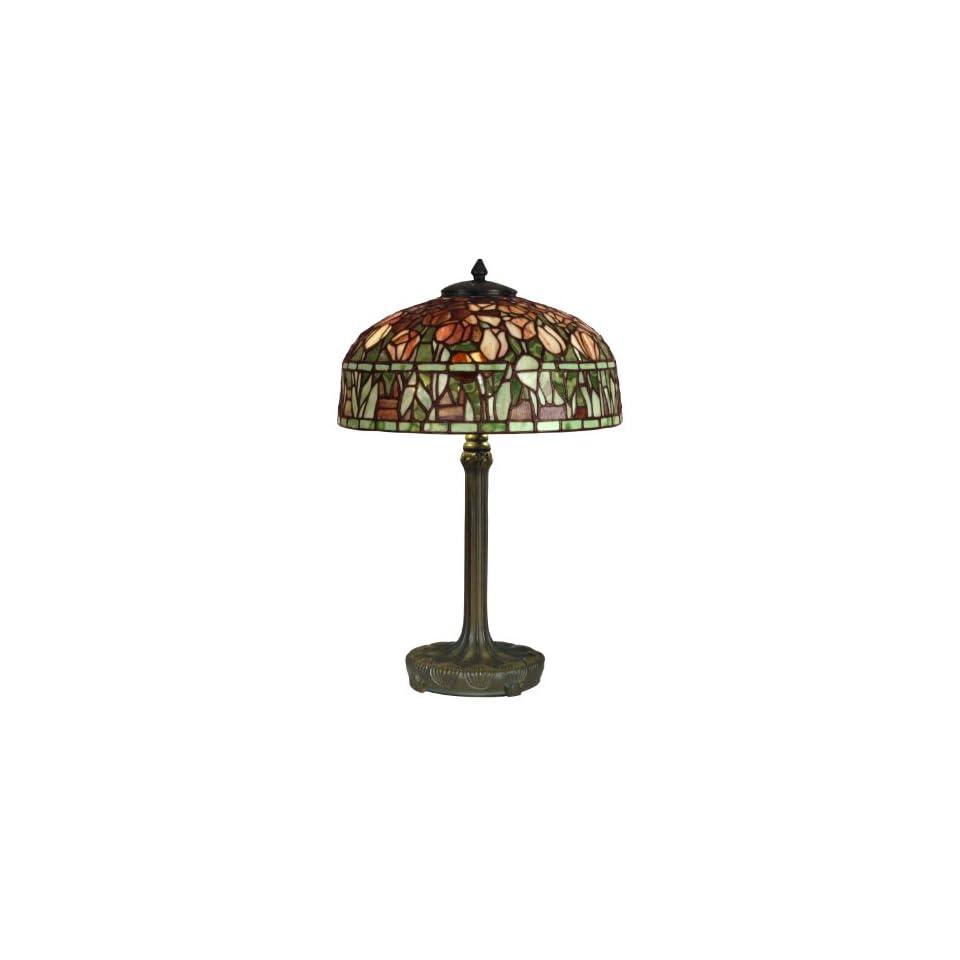 Dale Tiffany TT10024 Tiffany Table Lamp, Dark Antique Bronze Verde Grn and Art Glass Shade