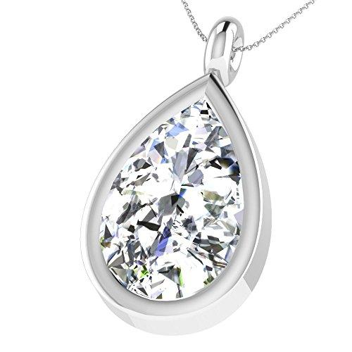 Libertini pendentif argent 925 femme serti de Diamant en forme de Tomber