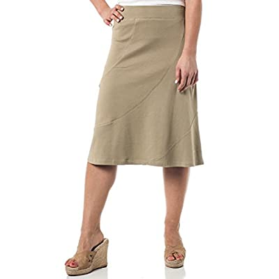 Alki'i A-Lined Mid Length Skirt with Elastic Waistband, Sponge XL at Women's Clothing store
