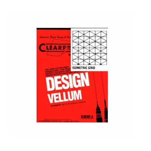 Clearprint 1000H Design Vellum Pad with Printed Fade-Out 30-Degree Isometric Grid, 16 lb, 100% Cotton, 8-1/2 x 11 Inches, 50 Sheets, 1 Each (10005410) - Isometric Drafting Paper