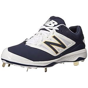 New Balance Men's L4040V3 Cleat Baseball Shoe, Navy/White, 13 D US