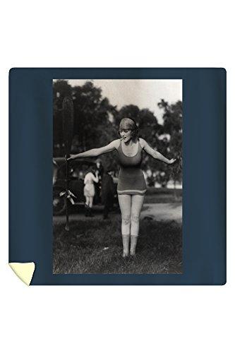 Girl in Bathing Suit Holding Up Oar Photograph (88x88 Queen Microfiber Duvet Cover)