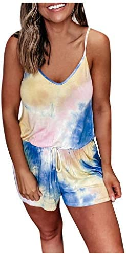 Eoeth Womens Tie-Dye Elastic Waist Drawstring Strap Jumpsuit Casual V-Neck Tank Top Backless Sleeveless Belted Rompers