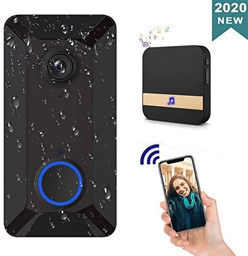 ワイヤレススマートビデオドアベルカメラ720P HD WiFiビデオドアベル、チャイム、防犯カメラモーション検出器,黒
