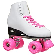 New! Epic Classic w/ Pink Wheels High-Top Quad Roller Skates w/ 2 Pair of Laces (White & Pink)