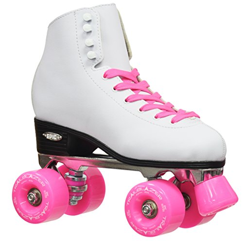 Epic Skates 2016 Epic Classic 11 High-Top Quad Roller Skates with Pink Wheels, (Women Quad Roller Skates)