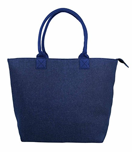 Tote Flower Daisy Denim Navy Large Bag Fully Shopper Shoulder Lightweight Black Bag Ladies Women Canvas Lined Holiday Beach w6q6OIn