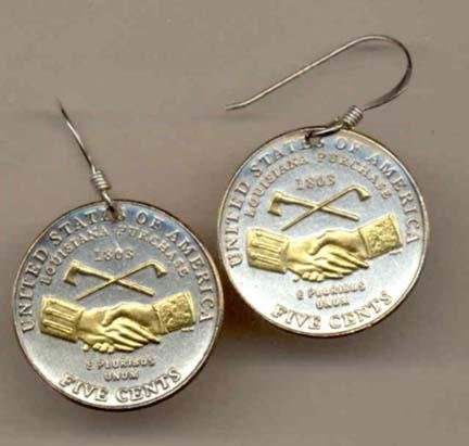 """New Jefferson Nickel""""Peace Medal"""" Two Tone Coin Earrings"""