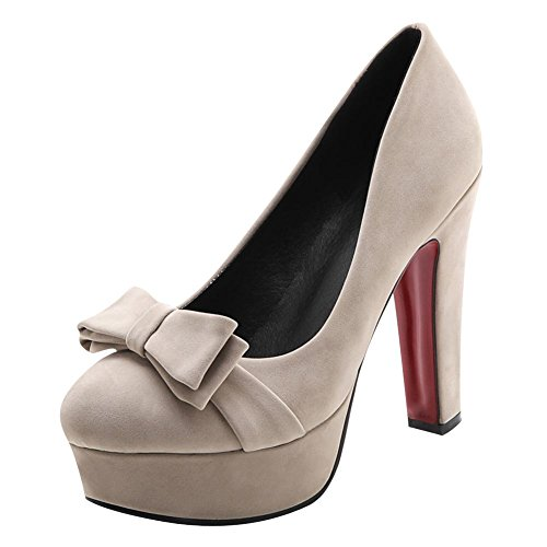 Mee Shoes Damen high heels runde Plateau Pumps Aprikose