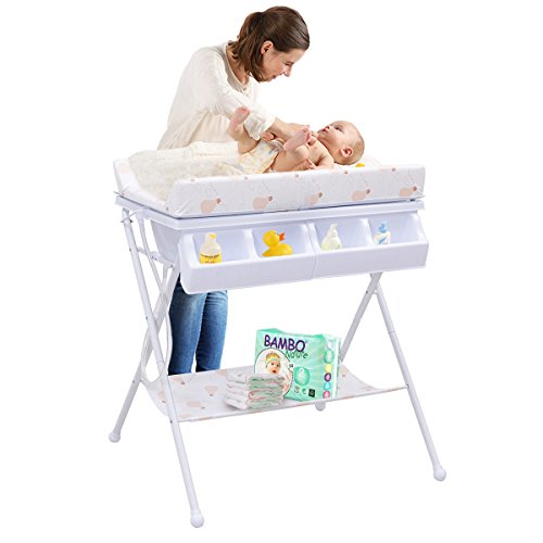 - Foldable Infant Baby Bath Diaper Storage Changing Table White