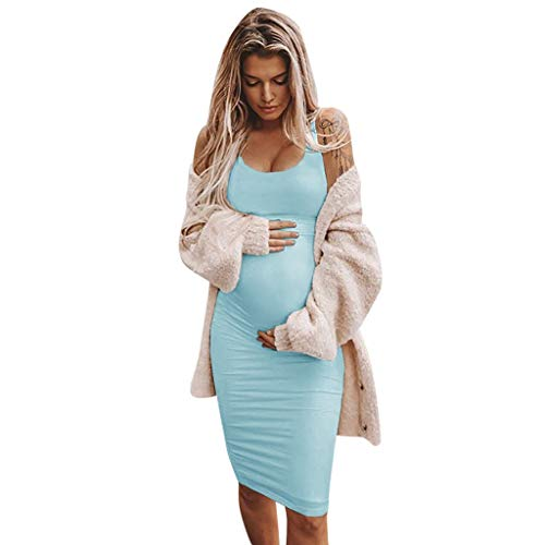 Bodycon Maternity Dress Women Casual Spaghetti Strap Fitted Ruched Stretch Pregnancy Baby Shower Dress Knee Length Sky Blue -