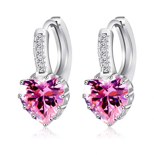 (megko 925 Sterling Silver Heart Cubic Zircon Crystal Huggie Hoop Earrings Leverback Drop Earrings for Women Girls(Pink))
