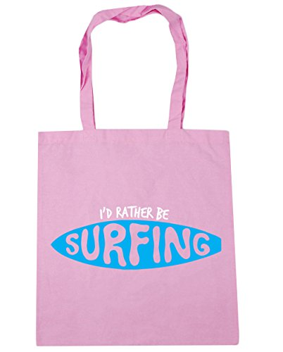 HippoWarehouse I 'd Rather BE SURFING Tote Compras Bolsa de playa 42cm x38cm, 10litros Classic Pink