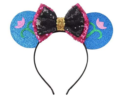 CLGIFT Frozen Inspired Minnie Mouse Ears Headband,Pick your princess, Elsa Minnie Ears, Snowflake Ears, Anna Ears,holiday minnie ears (ANNA) -