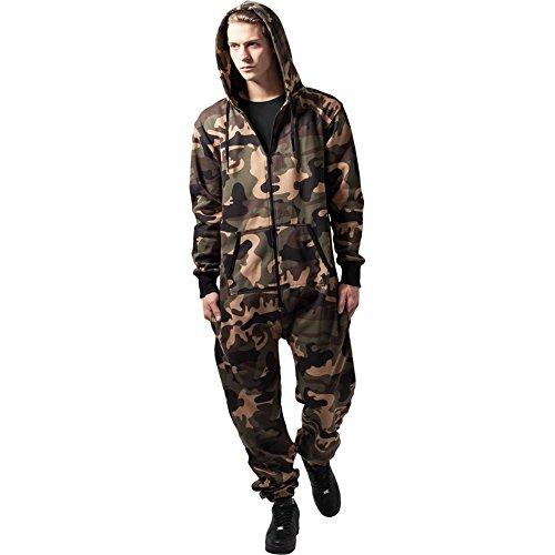 Urban Classics Men's Camo Jumpsuit Sweatpant Wood Medium Long Green