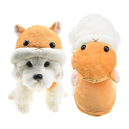 MUYAOPET Cute Hamster Dog Costume Outfits Winter Fleece Pet Cat Coat Warm Jacket Clothes for Chihuahua Yorkie (XS, Yellow)]()