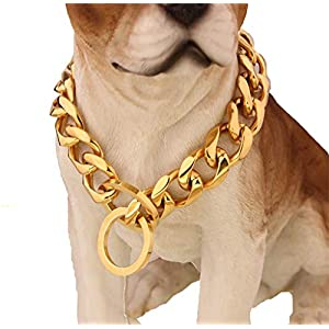 W&W Lifetime Custom Ultra Strong 19MM 14K Gold Plated Slip Chain Dog Collar - for Pit Bull Mastiff Bulldog Big Breeds 1