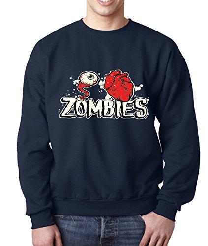 [Lifestyle39 Eye Heart Zombies Sweatshirt, Halloween Sweatshirt, Halloween Costumes Navy Blue XXX-Large] (80's Couples Halloween Costume Ideas)