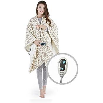 Beautyrest Ultra Soft Sherpa Berber Fleece Electric Poncho Wrap Blanket Heated Throw with Auto Shutoff, 50
