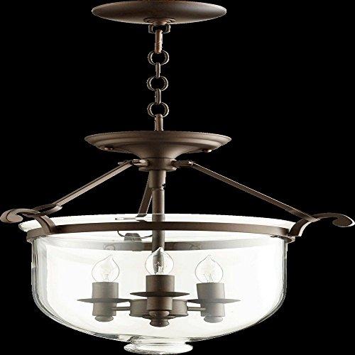Quorum Lighting 6702-3-86, Entry Bowl Pendant, 3 Light, 60 Total Watts, Oiled (Oiled Bronze Entry)