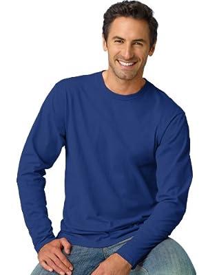 Hanes Mens Nano Long Sleeves Crew Neck Casual Shirt