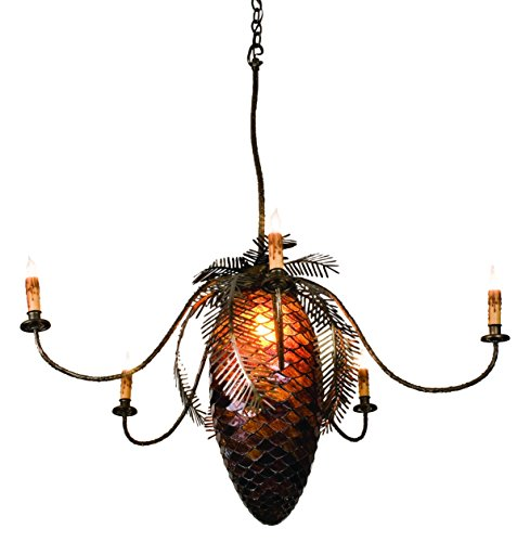 Meyda Tiffany 98970 Pinecone 5 Light Chandelier, 34.2