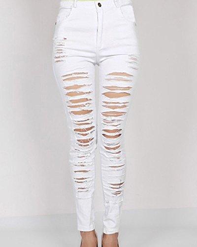 Donne Pantaloni Distrutti Bianco Strappati Jeans Scarni rrgUqd