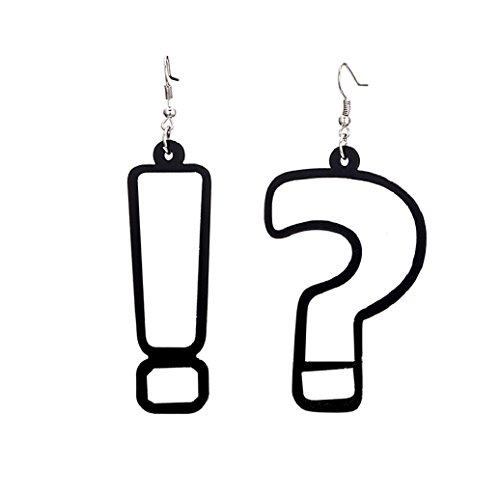 Yamalans Women's Hip Hop Exclamation and Question Mark Acrylic Hook Earrings for Party - Exclamation Question Mark