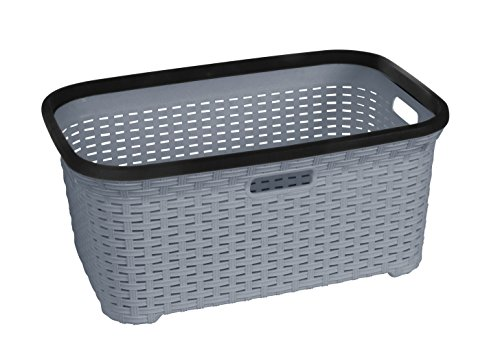 Rattan (Wicker Style) 1.4 Bushel Laundry Basket (Grey) (Basket Laundry Grey Rattan)