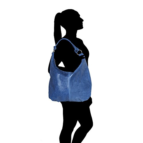 Woman Italy 45x35x4 Cm Leather Large Shoulder Handle In Genuine Bag Made Blue Chicca Borse With rAw4r