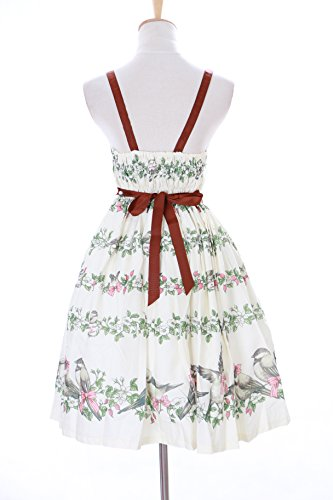 Pastel Creme Vögel Lolita Weiß Blumen Birds Kleid Kostüm Harajuku Cosplay Goth Sweet Jsk-26-1