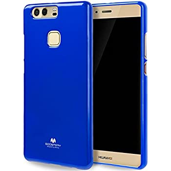 GOOSPERY Marlang Marlang Huawei P9 Plus case - Navy Blue, Free Screen Protector [Slim Fit] TPU Case [Flexible] Pearl Jelly [Protection] Bumper Cover for ...