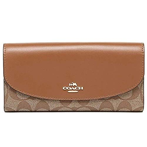 Coach Signature PVC Slim Envelope in Khaki/Saddle F54022