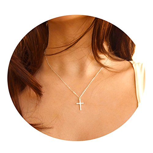 Befettly Womens Simple Bar Triangle 14k Gold Filled Polished Cross Pendant Feather Necklace With Imitation Pearls Synthetic Sweater Chain (Cross Silver)