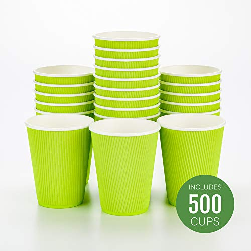 Disposable Paper Hot Cups - 500ct - Hot Beverage Cups, Paper Tea Cup - 12 oz - Eco Green - Ripple Wall, No Need For Sleeves - Insulated - Wholesale - Takeout Coffee Cup - Restaurantware