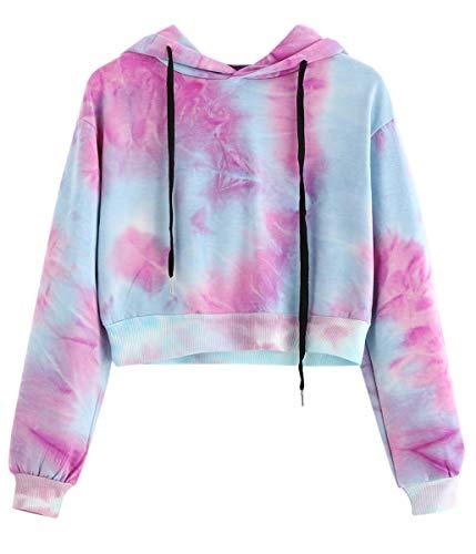 Women's Long Sleeves Novelty Cute Tie Dye Ombre Hooded Crop Shirt Tops Hoodie Sweatshirt Pink Blue, Pink, XS-S(0-6) = Tag M ()