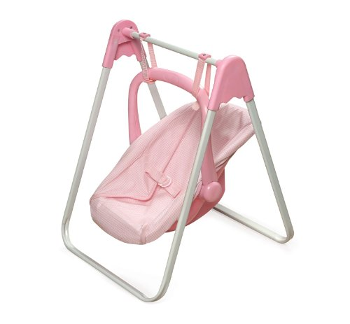 Badger Basket Doll Swing and Carrier - Pink Gingham (fits American Girl (Infant Plastic Baby Carrier)