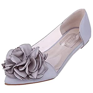 T&Mates Womens Sweet Ballet Shoe Slip-on Flower Bow Pointed Toe Comfort Dress Flat Shoes (7.5 B(M)US,Gray)