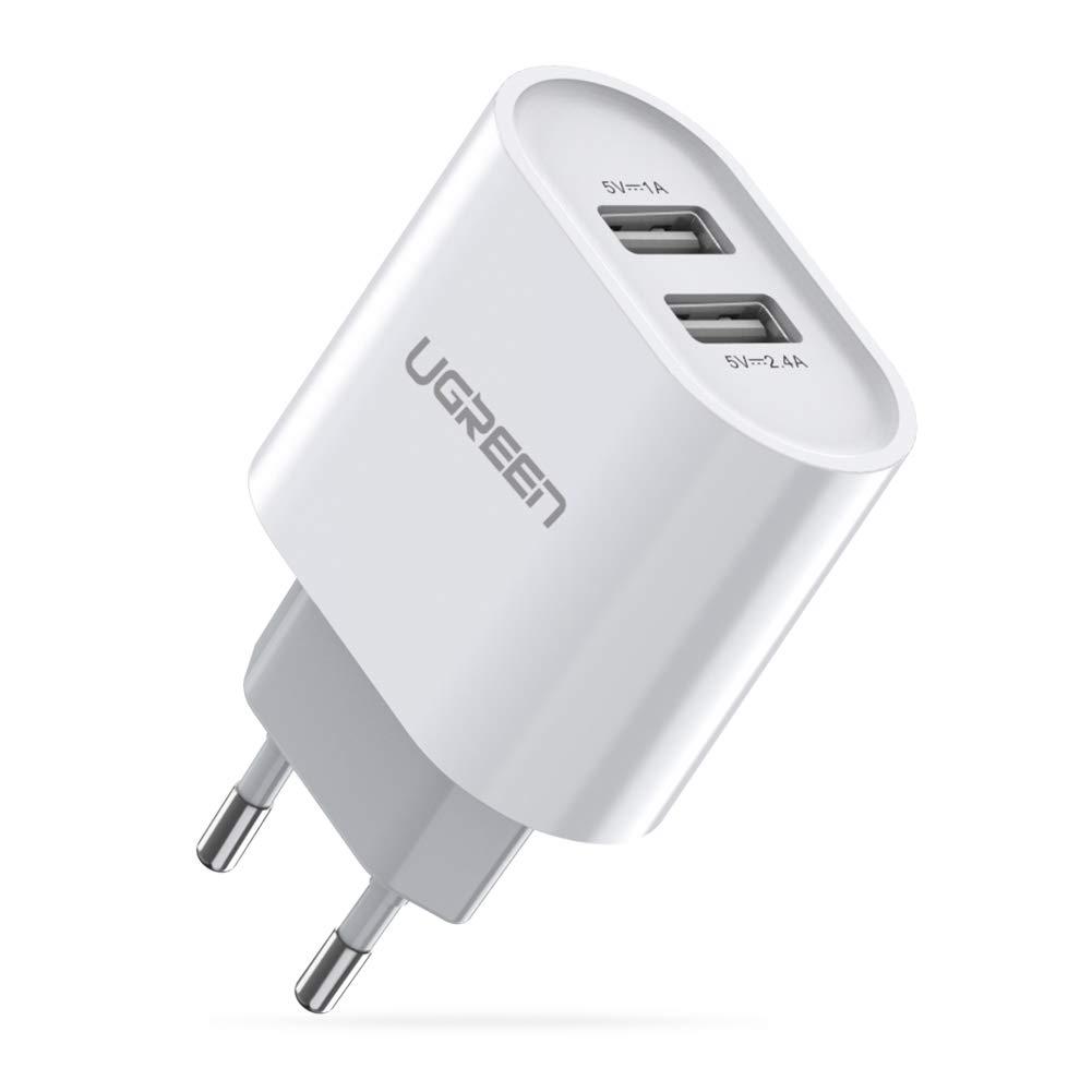 UGREEN Cargador USB Pared con Dos USB Puertos 5V 2.4A y 5V 1A Enchufe Multipuerto Europeo para iPhone XR, XS, X, 8, Samsung Galaxy A70, S7, J6, Xiami ...
