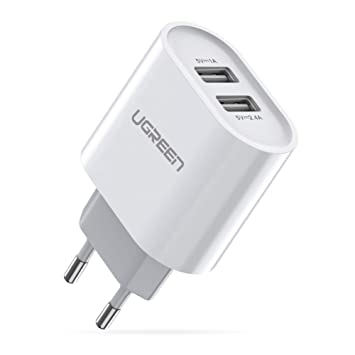 UGREEN 2 Cargador USB de pared 17W 5V 3.4A Cargador USB Enchufe para iPhone XS Max XR X 8 7 6 iPad Pro Mini teléfono inteligente Samsung S10 S9 S8 A50 ...