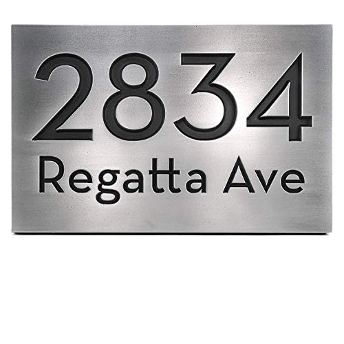 Atlas Signs and Plaques Bold Classy Modern Font Address Plaque - 12.5x8.75 - Stainless Steel Metal Coated Recessed Number ()