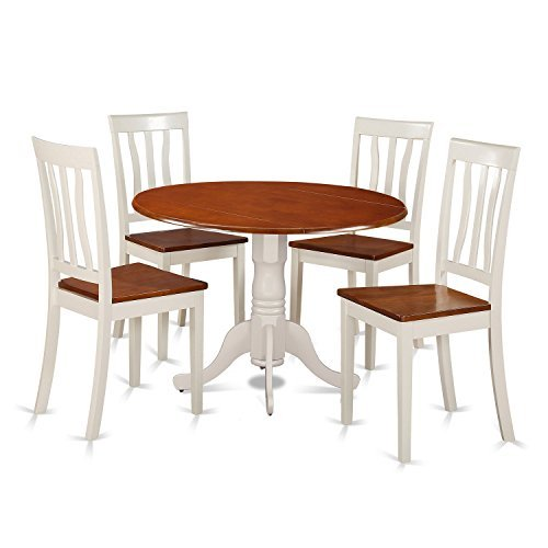 East West Furniture DLAN5-BMK-W Dining Set - 5 Pcs with 4 Wood Chairs in Buttermilk, 5 Pieces